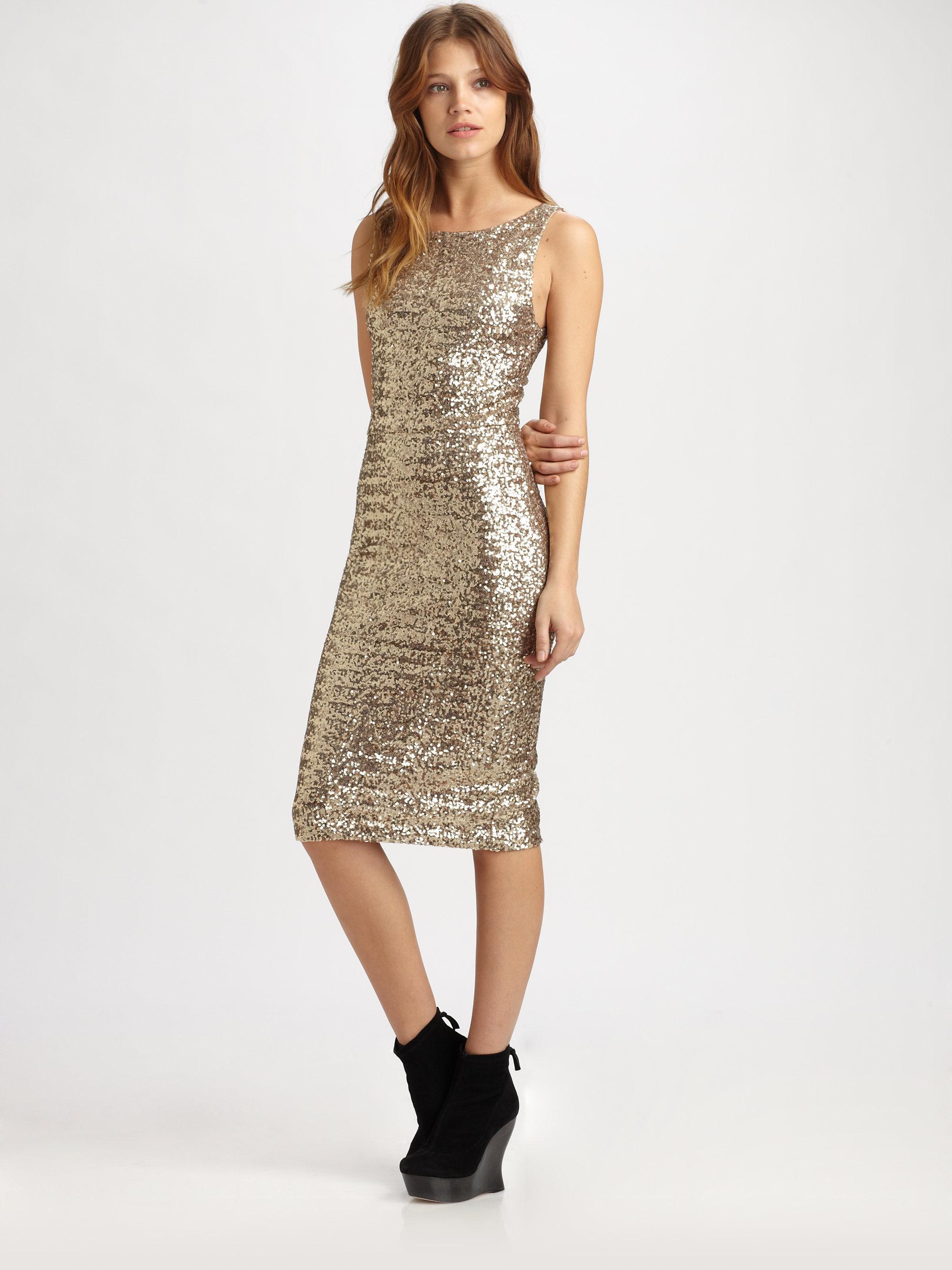 Alice   olivia Dara Sequined Sheath Dress in Metallic  Lyst