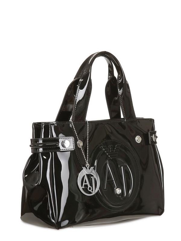 Armani Jeans Medium Embossed Logo Patent Vinyl Tote in Black - Lyst e2f2a1a83ca9b