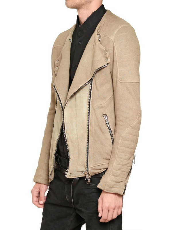 Balmain Cotton Linen Fleece Jacket in Natural for Men | Lyst