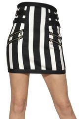 Balmain Striped Cotton Gabardine Skirt - Lyst