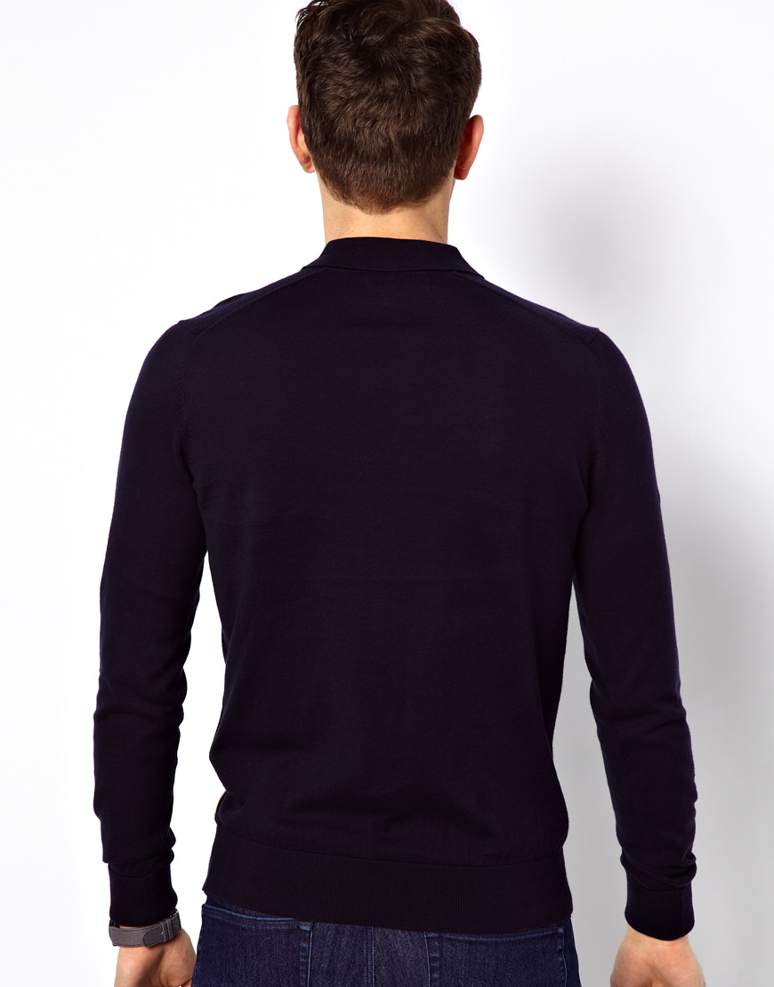 718a51b3a Ben Sherman Knitted Polo with Long Sleeves in Blue for Men - Lyst