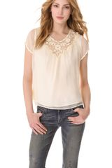 Beyond Vintage Floral Crochet Yoke Top - Lyst