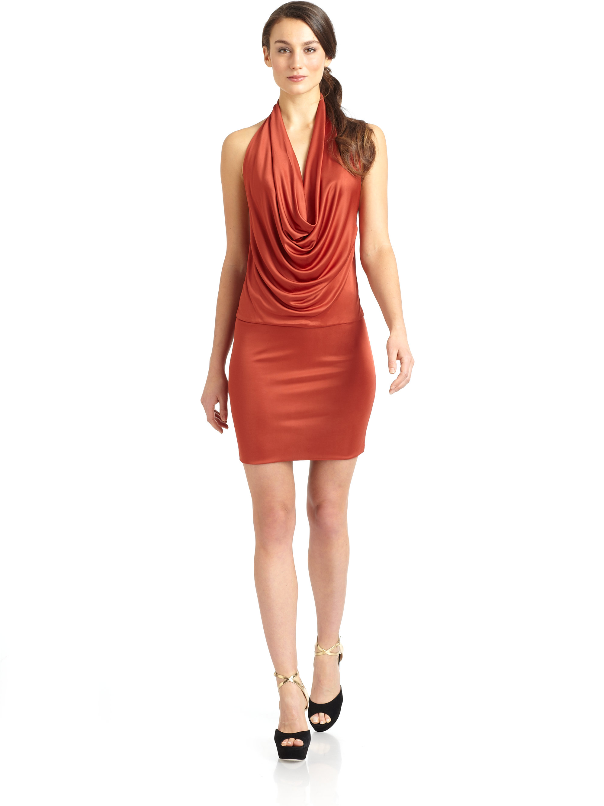 Black Halo Selena Draped Halter Cocktail Dress In Orange