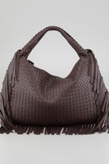 Bottega Veneta Veneta Large Fringed Hobo Bag Dark Brown - Lyst