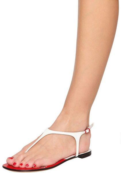 Casadei 10mm Tomato Shoe Patent Leather Flats in White