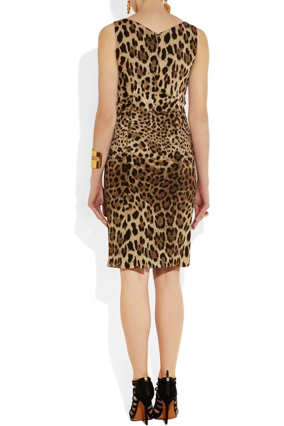 Dolce & gabbana Leopardprint Crepe Dress in Brown
