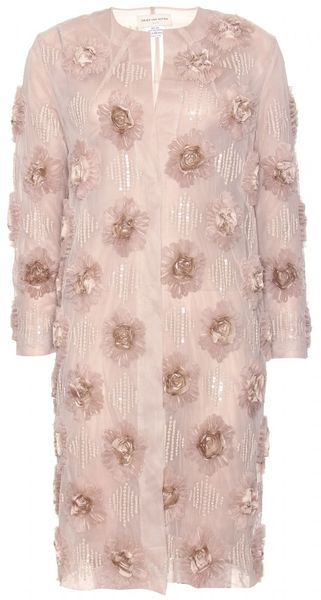 Dries Van Noten Ricci Silk Chiffon and Bead Embellished Coat in Pink (rose)