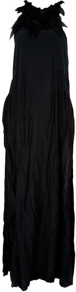 Ermanno Scervino Leaf Neckline Maxi Dress in Black