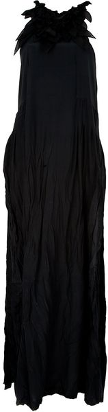 Ermanno Scervino Leaf Neckline Maxi Dress in Black - Lyst
