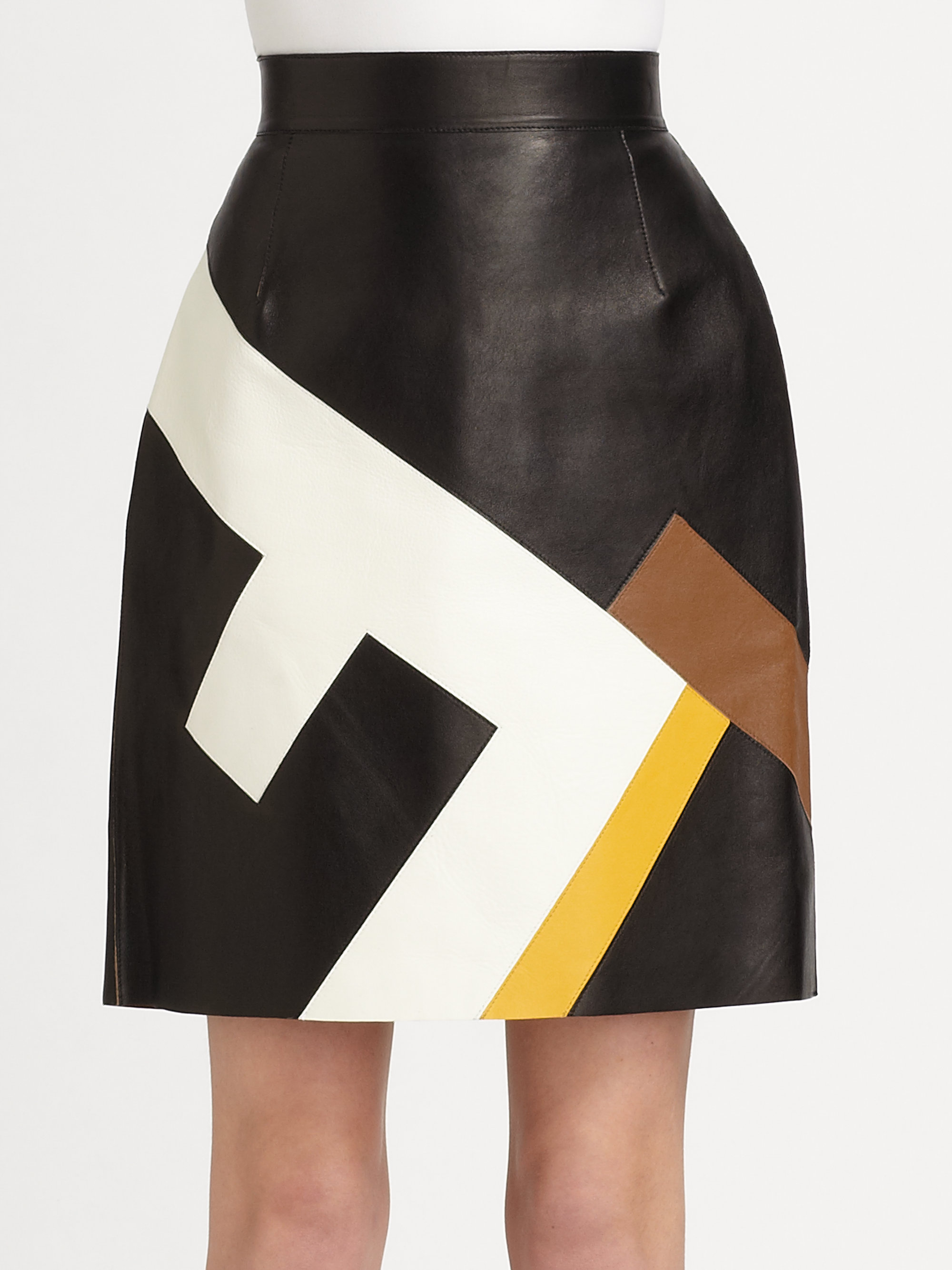 fendi leather maxi f skirt in multicolor lyst