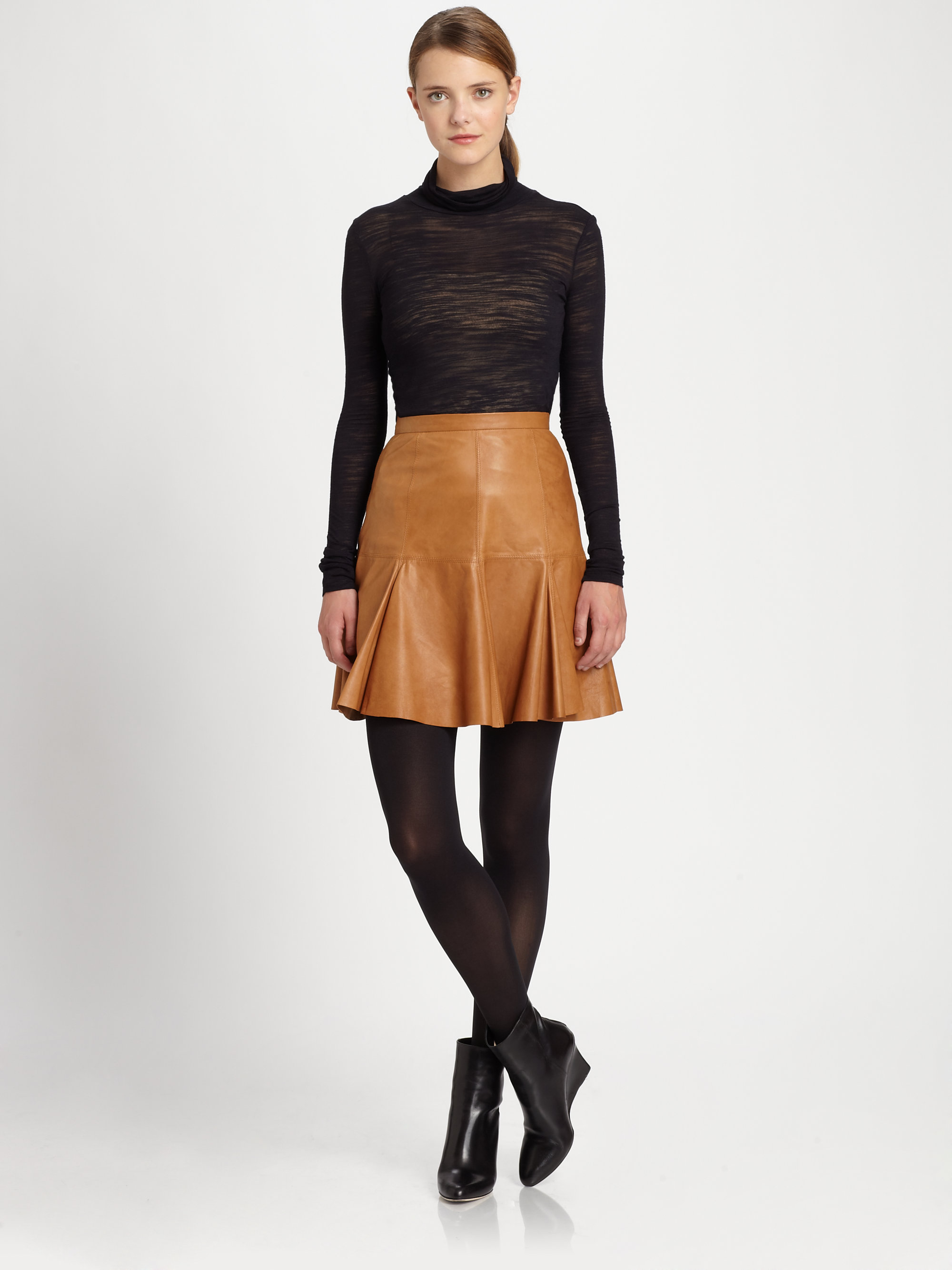 Halston Flared Leather Skirt in Brown | Lyst