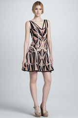 Hervé Léger Printed Flared Bandage Dress - Lyst