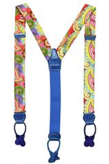 Manuel Vanni Printed Silk and Crocodile Suspenders