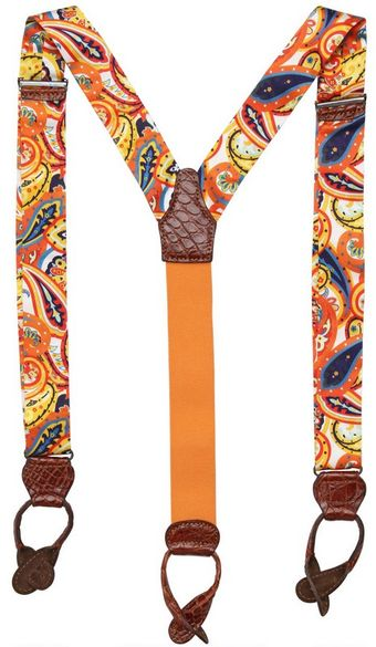 Manuel Vanni Printed Silk and Crocodile Suspenders - Lyst
