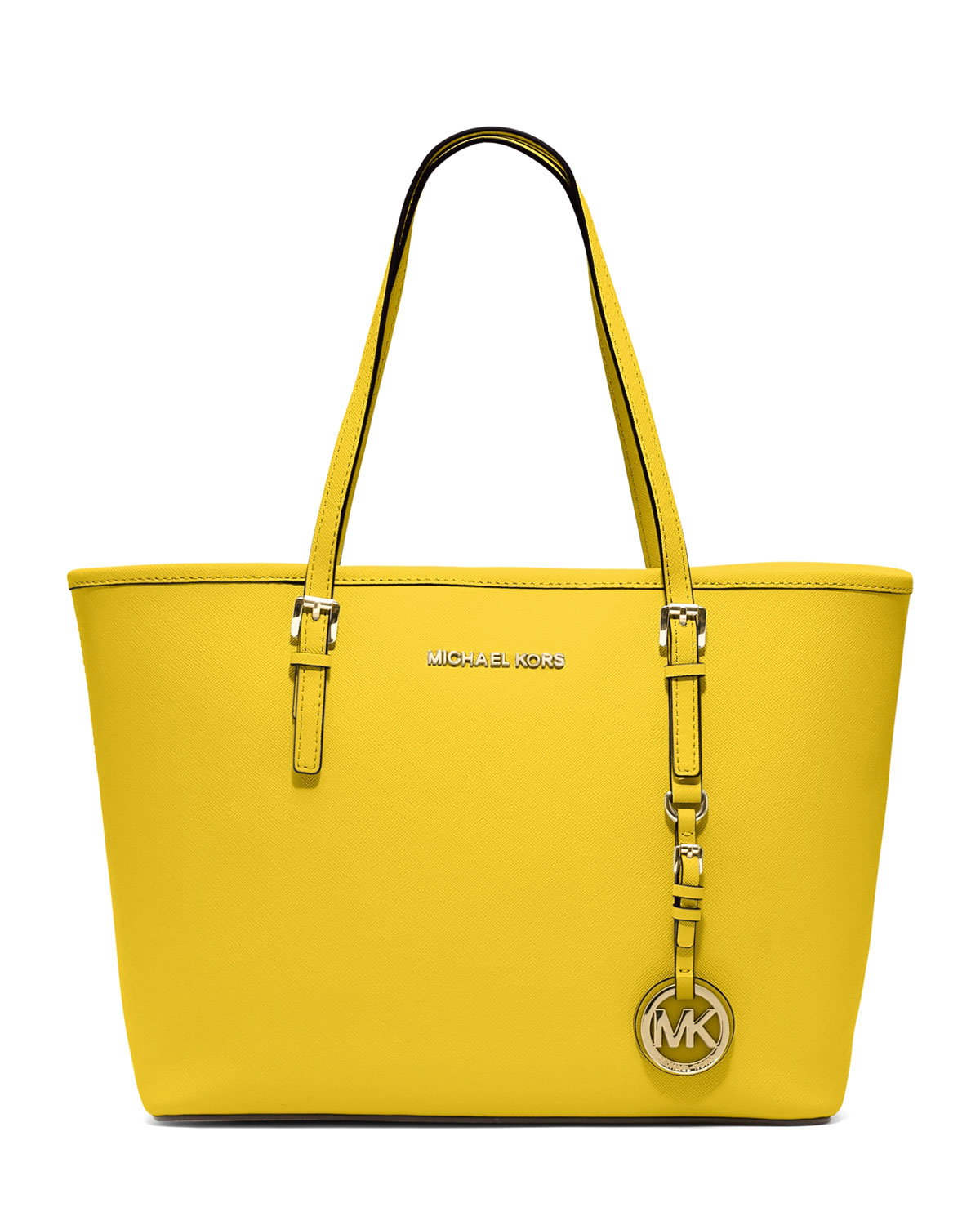 michael kors small jet set saffiano travel tote in yellow. Black Bedroom Furniture Sets. Home Design Ideas