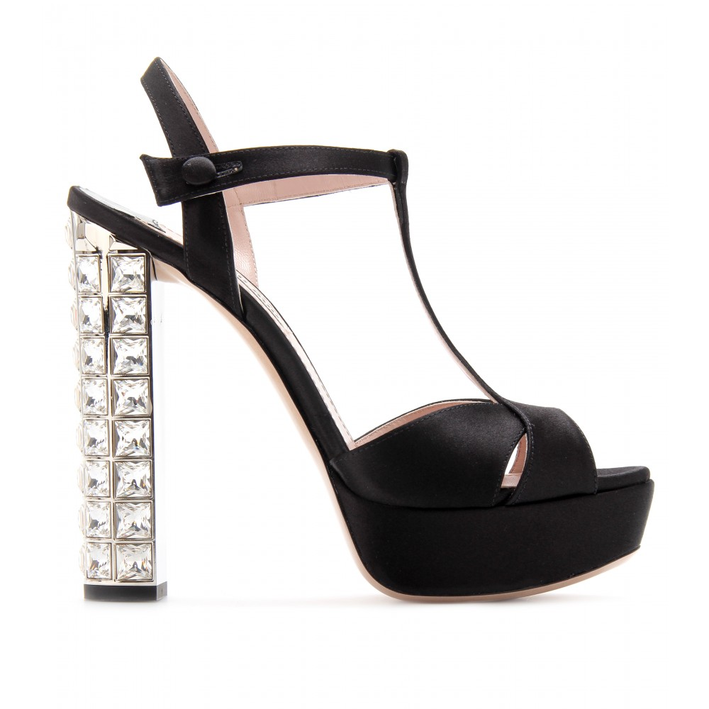 Womens Embellished Satin Platform Sandals Miu Miu Vehsq