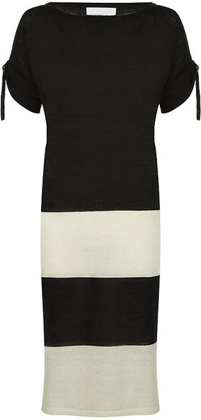 Nicole Farhi Linen Wool Striped Dress - Lyst