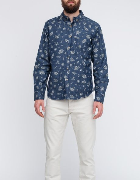 Obey Dharma Shirt in Blue for Men (indigo)