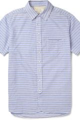 Rag & Bone Striped Woven Cotton Short Sleeved Shirt - Lyst