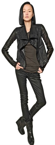 Rick Owens Stretch Waxed Denim and Leather Jacket - Lyst
