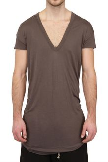 Rick Owens Silk Viscose Jersey Raw Cut T-Shirt - Lyst
