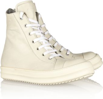 Rick Owens Leather Hightop Sneakers - Lyst