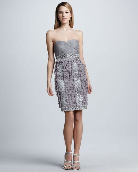 Sue Wong Petalskirt Strapless Cocktail Dress in Gray (platinum) - Lyst