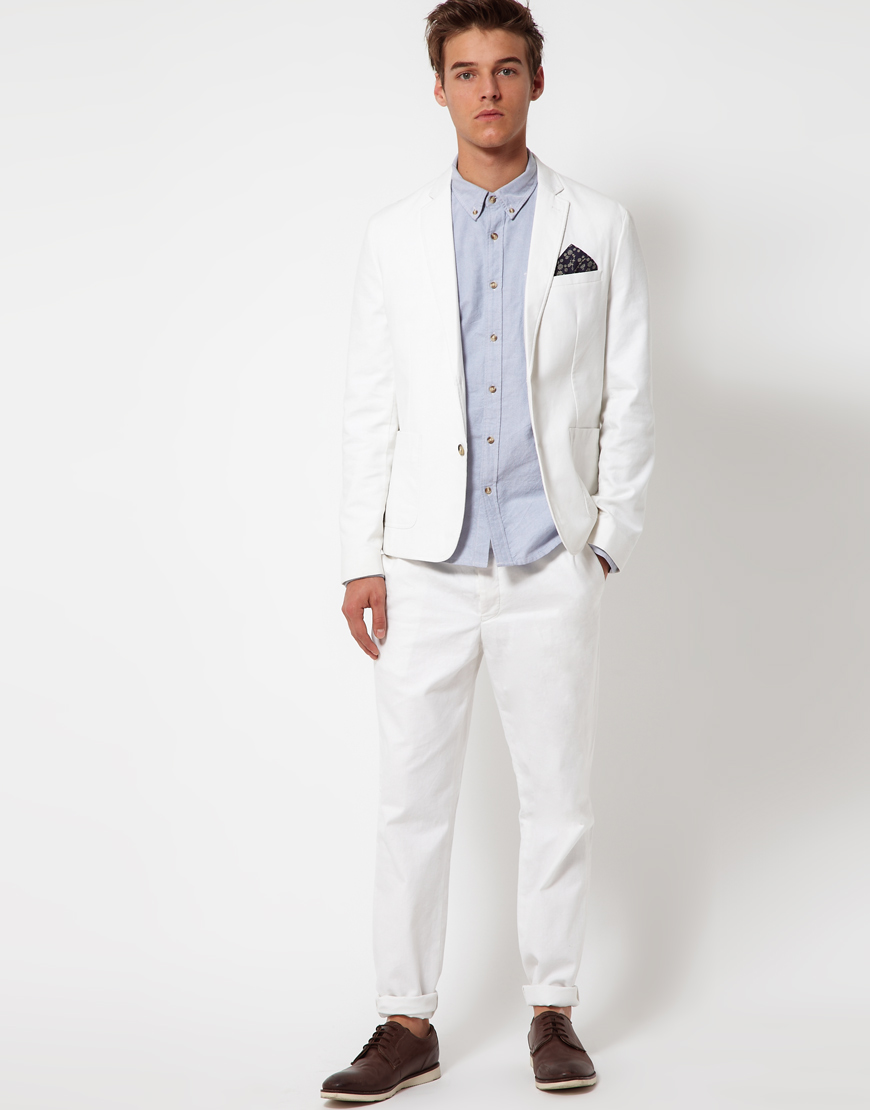 Asos Slim Fit Jacket in Cotton in White for Men | Lyst