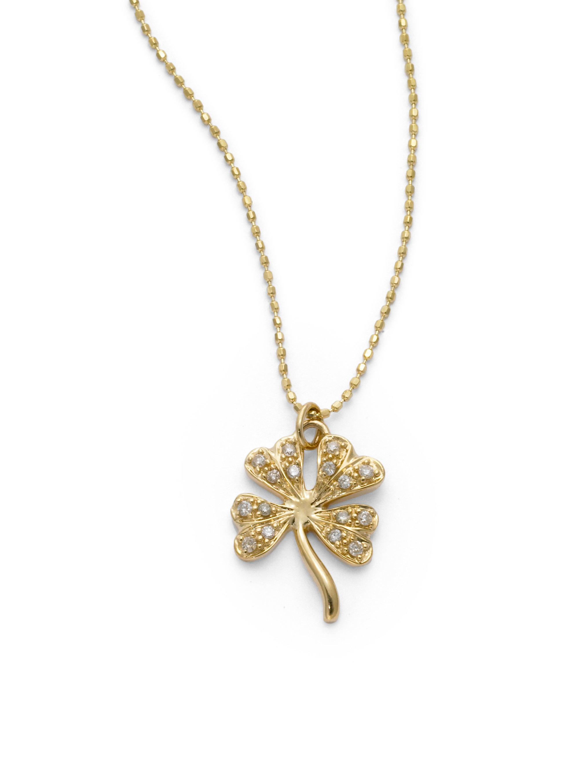 Lyst sydney evan diamond shamrock pendant necklace in metallic gallery aloadofball Images