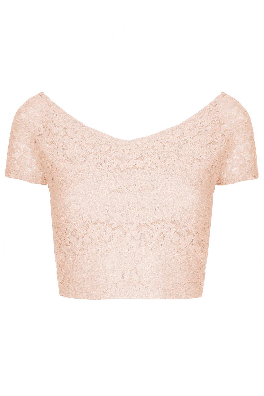 772e872d82d TOPSHOP Lace Bardot Crop Top in Pink - Lyst
