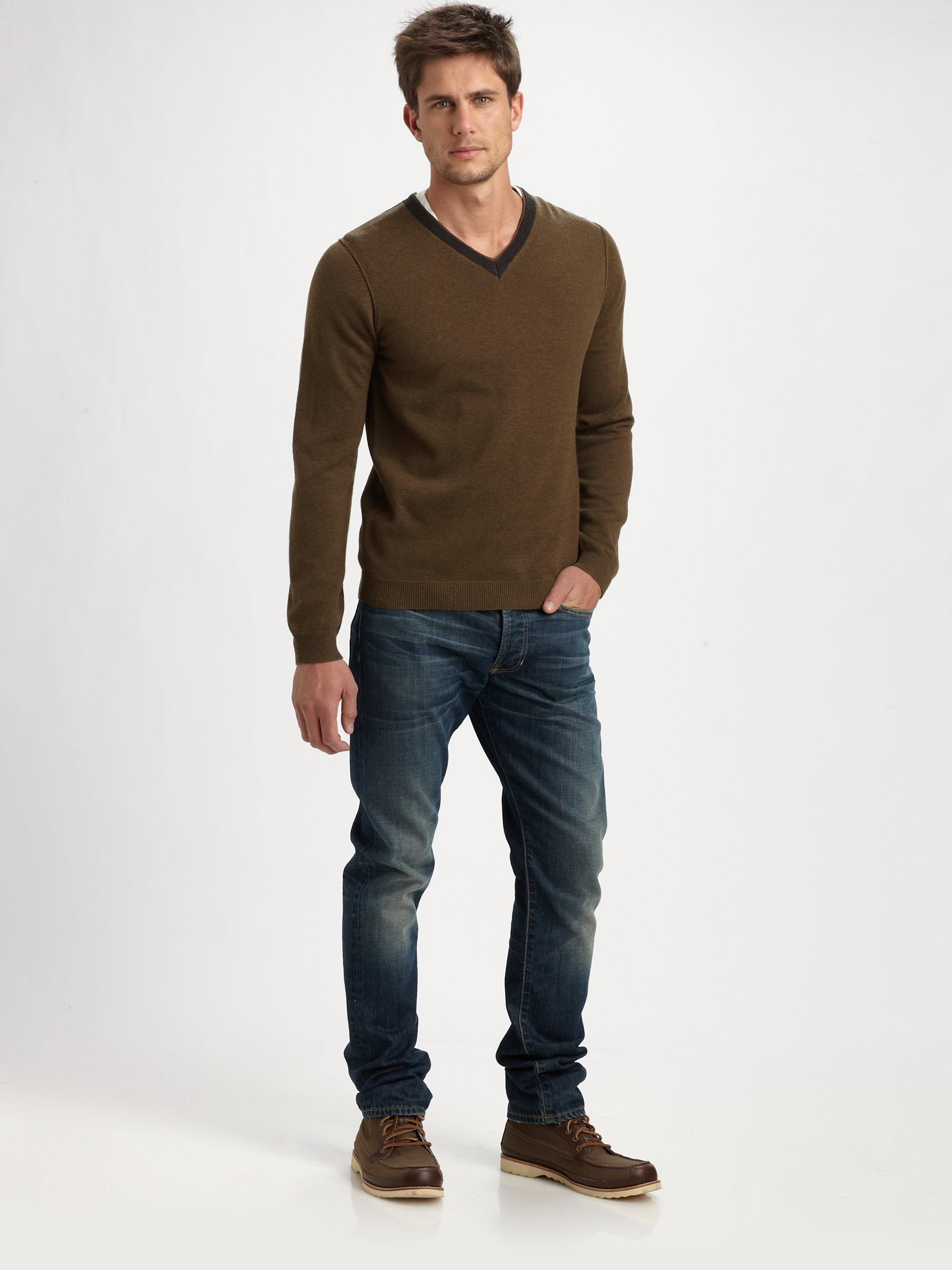 Lyst Vince Contrast Vneck Sweater In Green For Men