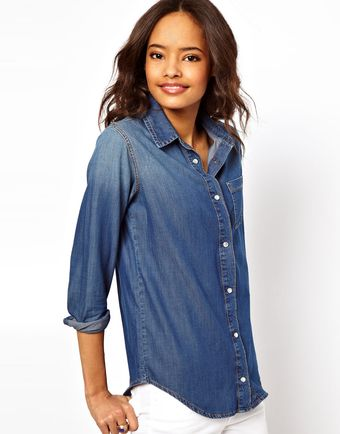 Vintage Asos Denim Shirt in Dark Wash - Lyst
