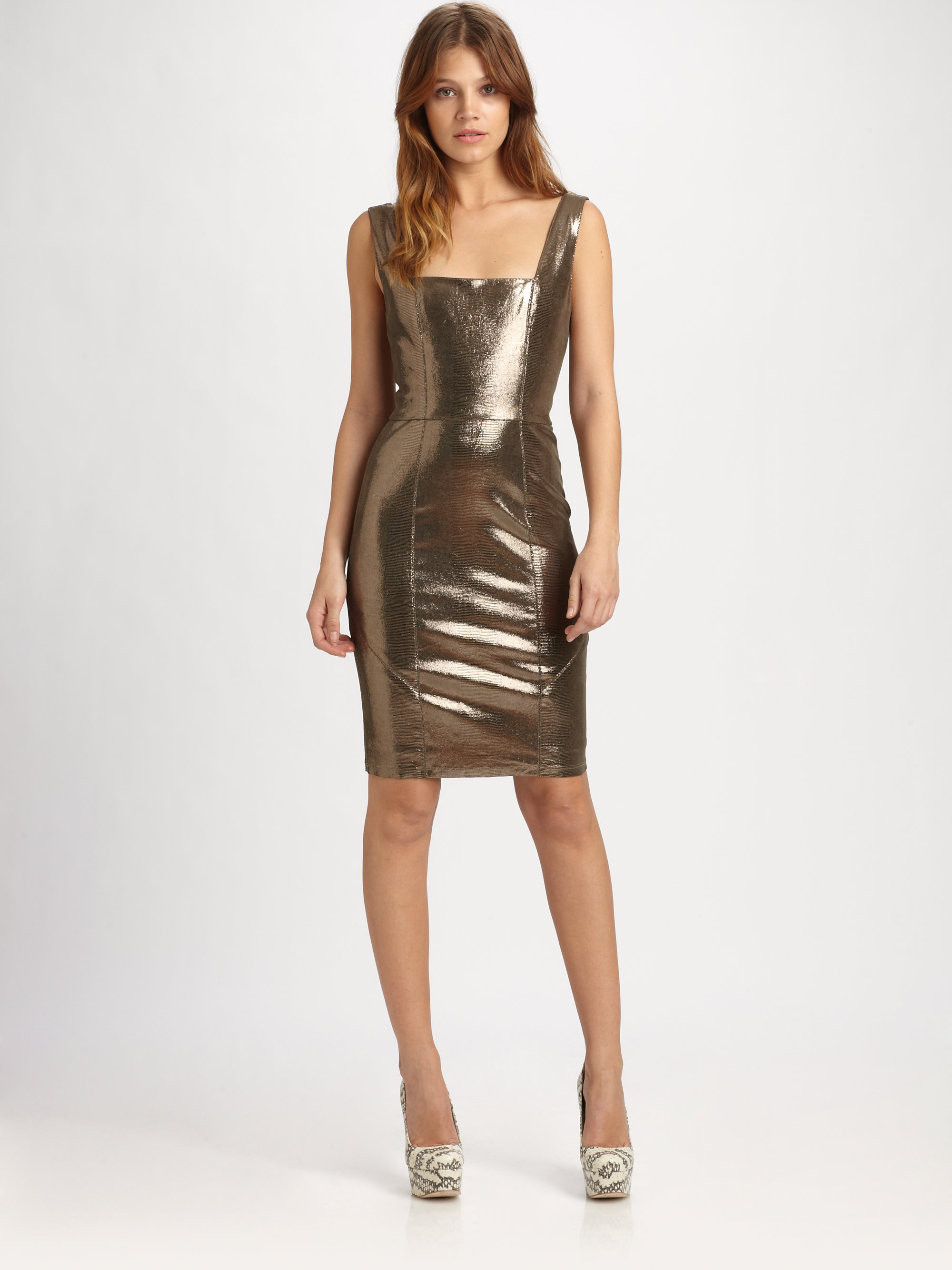 Lyst Alice Olivia Norah Metallic Leather Dress In Metallic