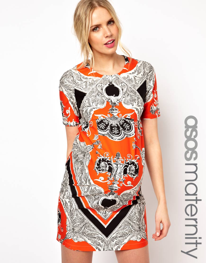 Asos dress in blocked scarf print in orange lyst gallery womens orange dresses ombrellifo Images