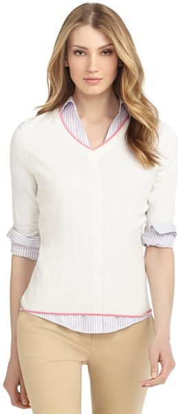 Brooks Brothers V-neck Golf Sweater - Lyst