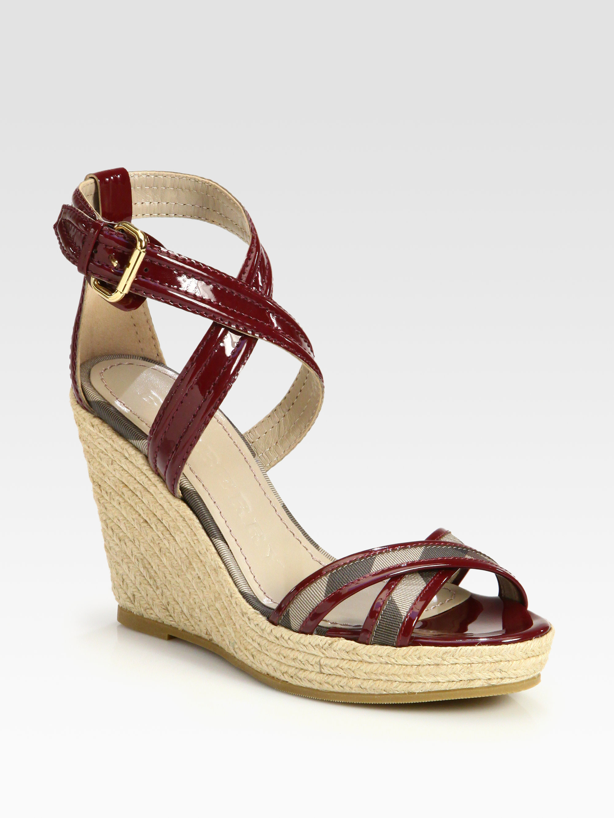 Burberry Walmer Canvas Patent Leather Espadrille Wedges In