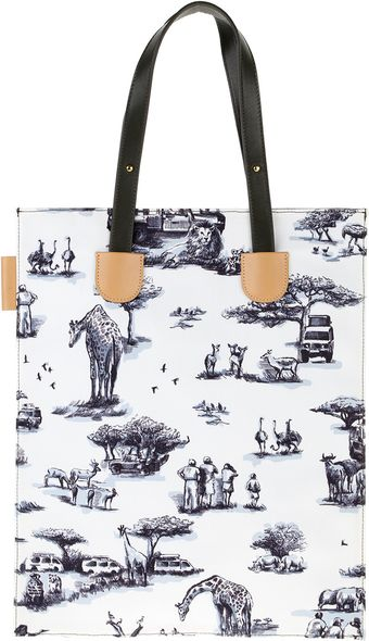 Carven Bag in Canvas with Safari Toile De Jouy Print - Lyst