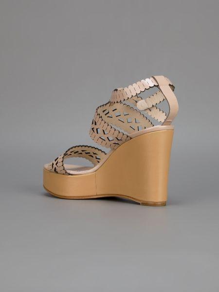 Chlo 233 Lace Wedge Sandal In Beige Lyst
