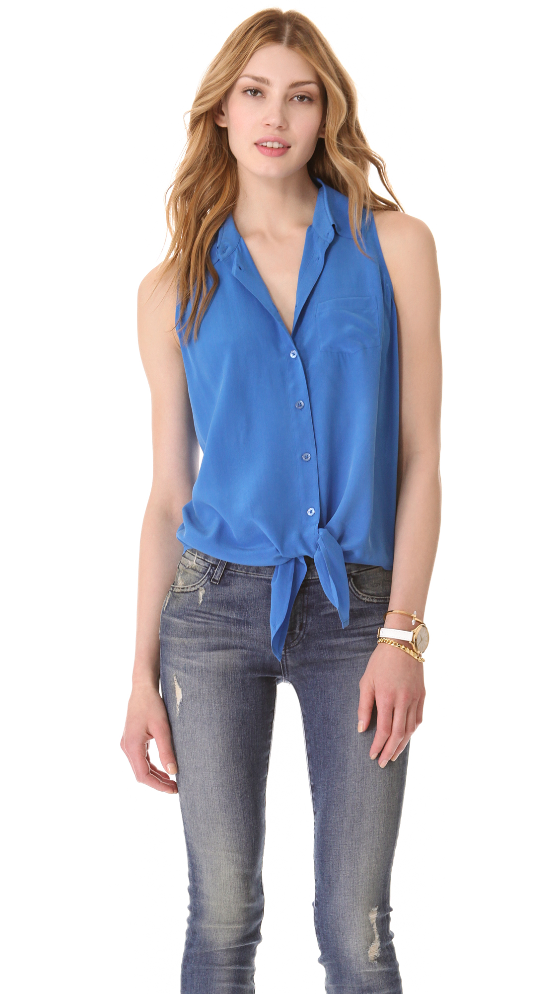 Equipment Mina Tie Front Blouse In Blue Lyst