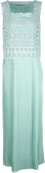 Ermanno Scervino Pleated Maxi Dress in Green - Lyst