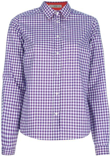 Etro Gingham Shirt In Purple White Lyst