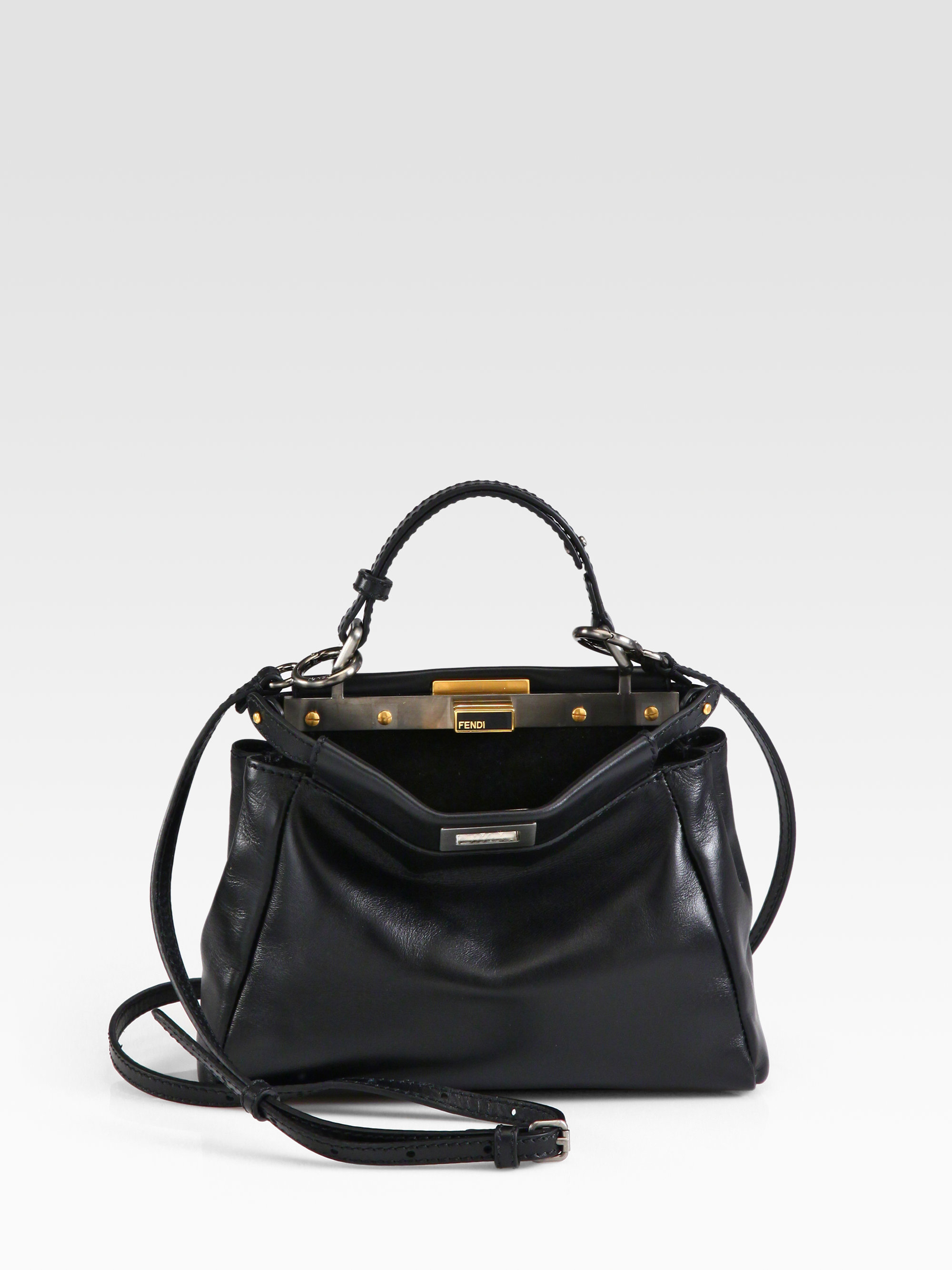 4c6e41db082d ... czech lyst fendi peekaboo mini satchel in black 9a85b 417bd