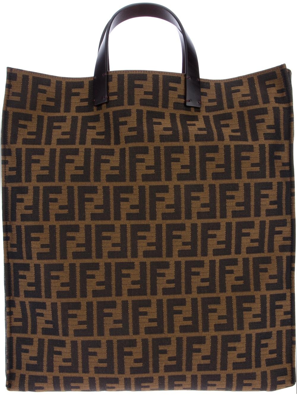 4c11eeff5d Fendi Logo Shopper Bag in Brown - Lyst