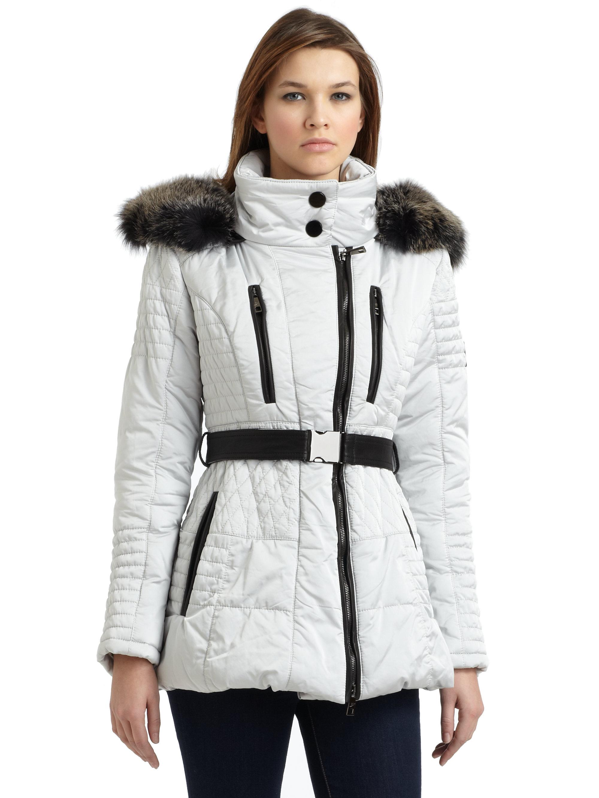 d12b5bdf10b Lyst - Gorski Argento Fur Trim Hood Quilted Ski Jacket in White