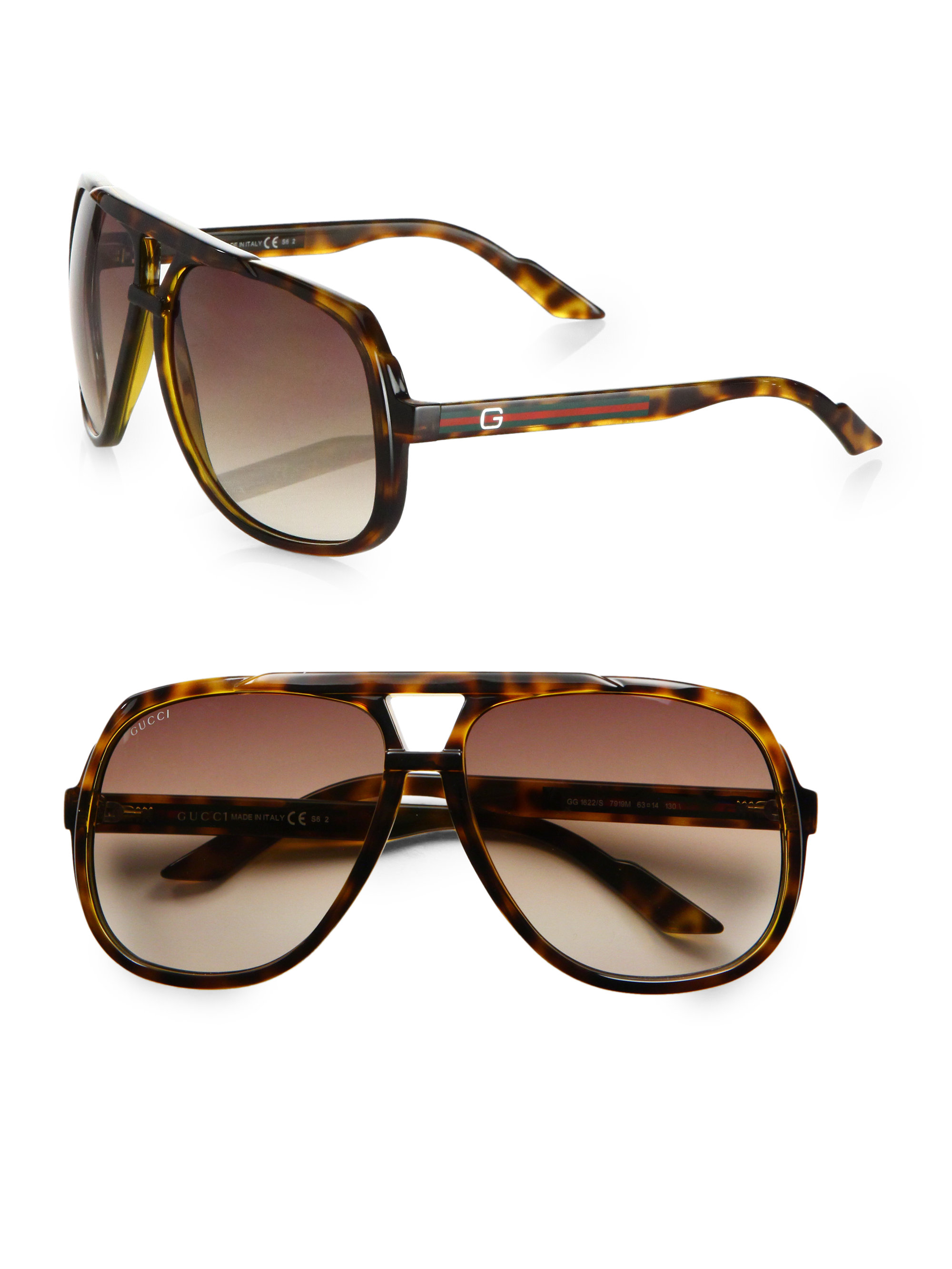 888d28290ab Lyst - Gucci Plastic Aviator Sunglasses in Brown for Men