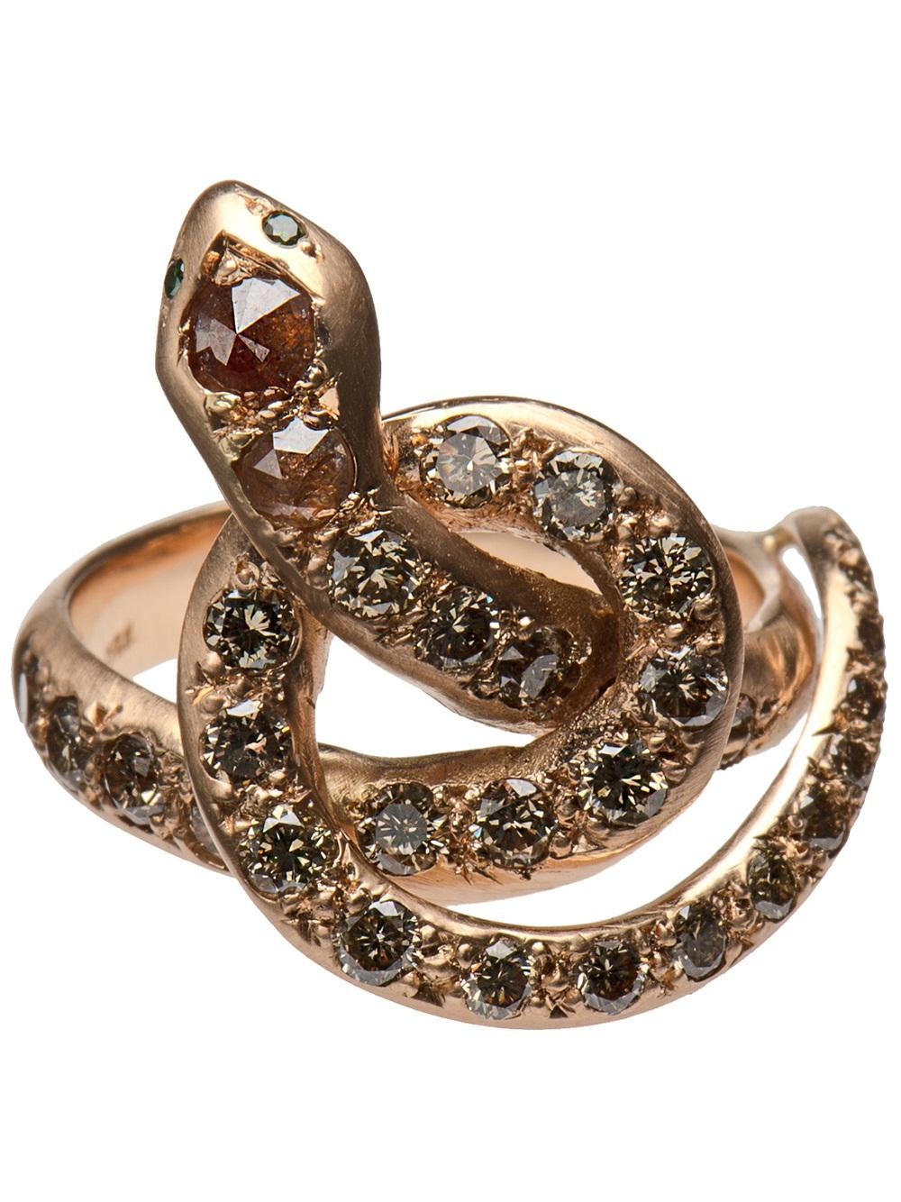 Ileana Makri Berus Coiled Snake Ring In Gold Snake Lyst