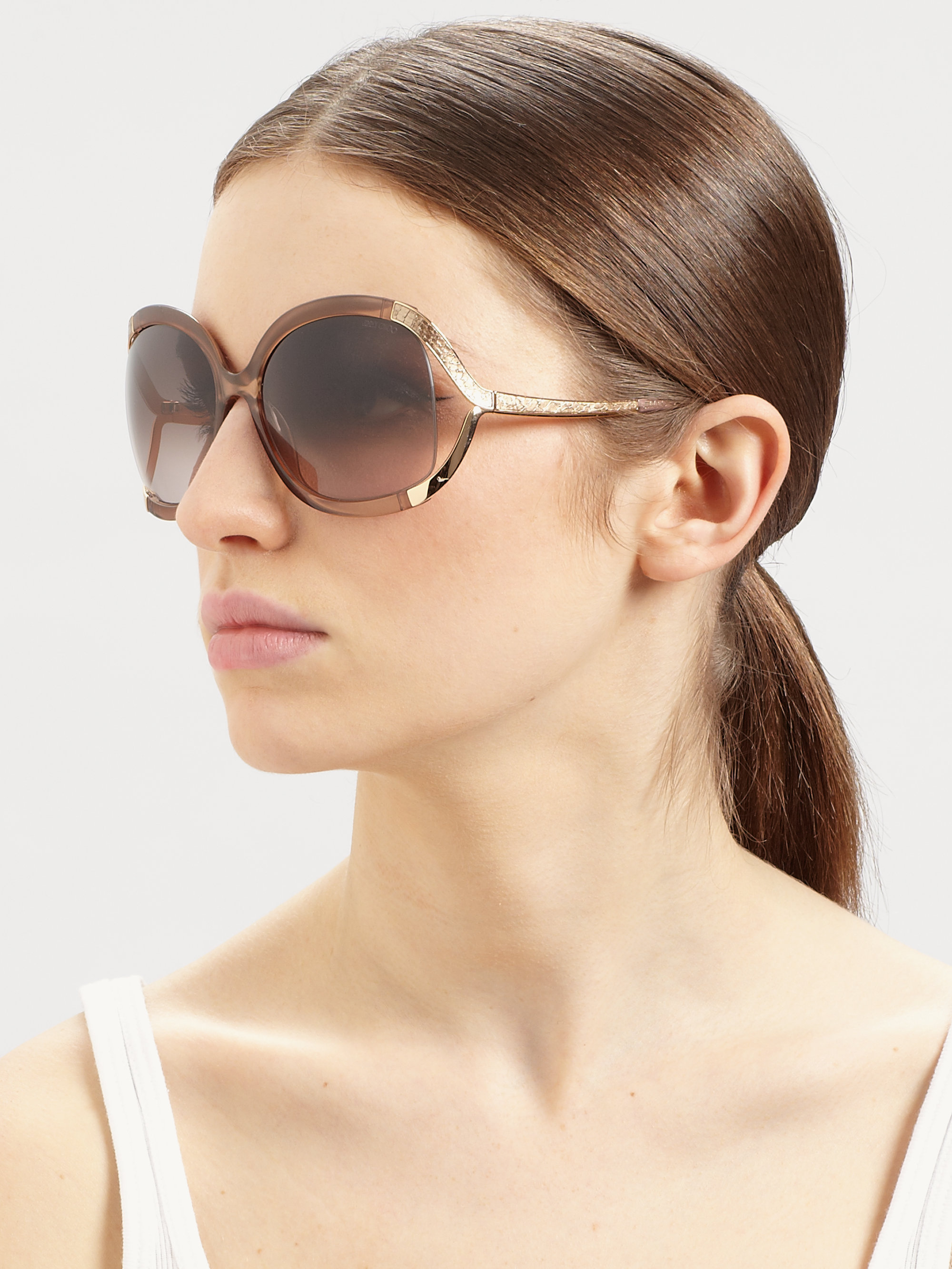 Lyst Jimmy Choo Beatrix Square Sunglasses In Brown