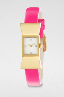 Kate Spade Carlyle Goldtone Bow Patent Leather Strap Watch - Lyst