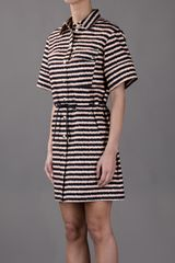 Kenzo Striped Shirt Dress in Black - Lyst