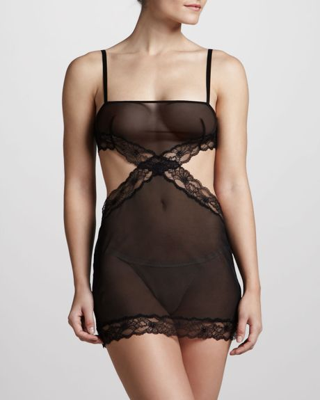 La Perla Blind Date Cutout Chemise in Black